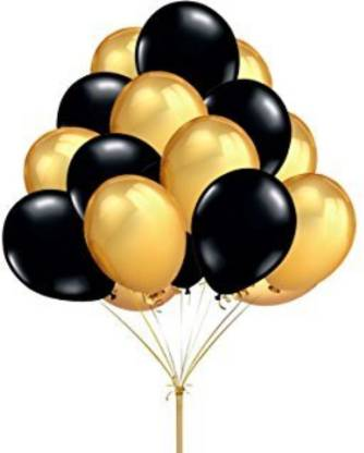 Smartcraft Solid Black Silver Gold Birthday Party Kit- Happy Birthday Letter Banner, Black and Gold Balloons, Tassels And Polka Dot Garlands Balloon