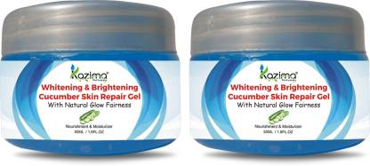 KAZIMA Whitening & Brightening Cucumber Skin Repair Gel With Natural Glow Fairness For All Type of Skin & Face ( 50 ML Pack of 2 )