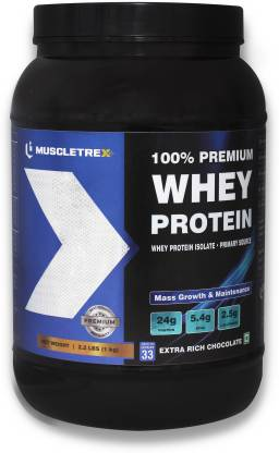 BIOTREX NUTRACEUTICALS Muscletrex 100% Whey Protein, Extra Rich Chocolate Flavour - 1 kg (2.2 lbs) Whey Protein