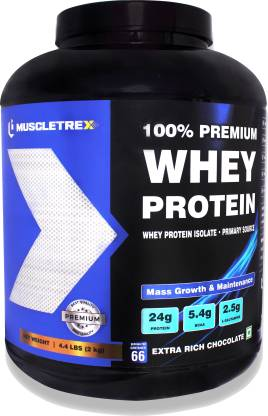 BIOTREX NUTRACEUTICALS Muscletrex 100% Whey Protein, Extra Rich Chocolate Flavour - 2 kg (4.4 lbs), Whey Protein Isolate as Primary source Whey Protein
