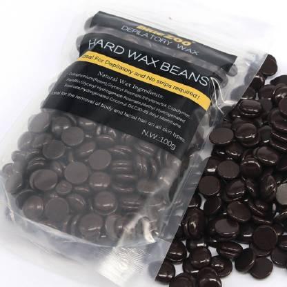 BORN PRETTY Chocolate Hair Removal Hard Wax Beans Women Bikini Brazilian Wax Armpit Paperless Hair Remover Heat Wax For Facial Body 100G/Bag Wax