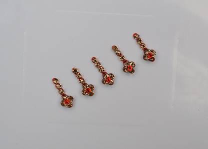 CRYSTAL Fancy Bindi Ladies & Women Gold, Red Bindis