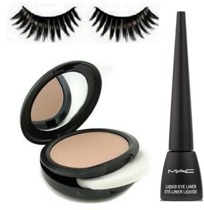 Professional Eyelashes,Combo Of Mac Studio Fix Compact 15gm,Liquid Eyeliner Black