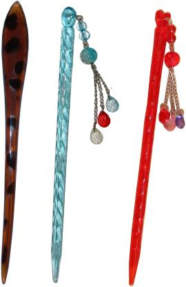 Majik Golden Combo of Multi Color Juda Sticks Bun Stick