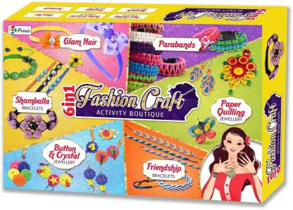 Jaibros 6 in 1 Fashion Craft activity boutique with paper quilling, parabands, shamballa bracelets, glam hair etc
