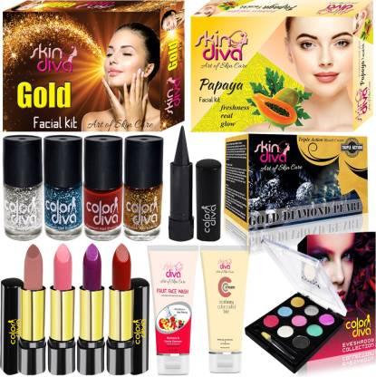 SkinDiva Buy 5 Pc Facial Skin Combo With 10 Pc Makeup Kit