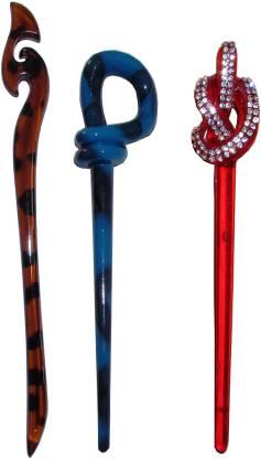 Majik Stylish Combo of Multi Color Juda Sticks Bun Stick