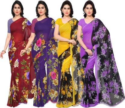 Printed Daily Wear Georgette Saree(Pack of 4, Multicolor)