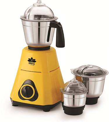 BMS Lifestyle BMS55 3 Stainless Steel Jars 550 W Mixer Grinder (3 Jars, Yellow)