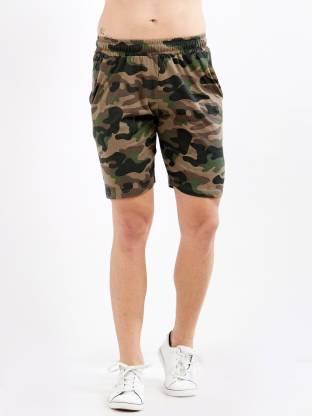 Maniac Printed Men Dark Green, Beige Regular Shorts