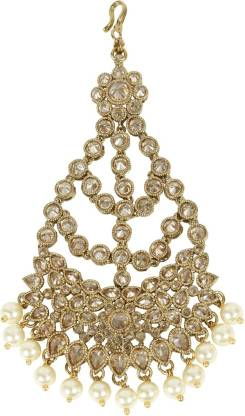 Muchmore Indian Traditional Gold Tone Crystal and Pearl Pasa Party Wear Jewellery Hair Chain