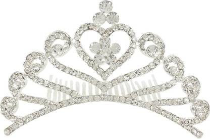 Muchmore Fantastic Silver Tone Floral Shape Crown With Crystal Stone Hair Jewellery Hair Clip