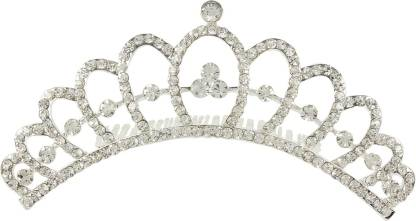 Muchmore Attractive Silver Tone Crown With Crystal Stone Hair Jewellery Hair Clip