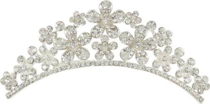 Muchmore Floral Shape Silver Tone Crown With Crystal Stone Hair Jewellery Hair Clip