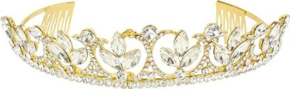 Muchmore Ethnic Gold Tone Crown With CZ Stone Hair Jewellery Hair Clip