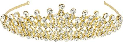Muchmore Trendy Gold Palted Crown With Crytsal Stone Hair Jewellery Hair Clip