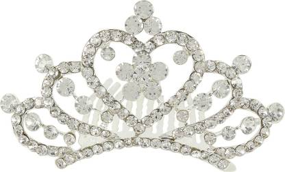 Muchmore Classic Silver Plated Crown With Crystal Stone Hair Jewellery Hair Clip
