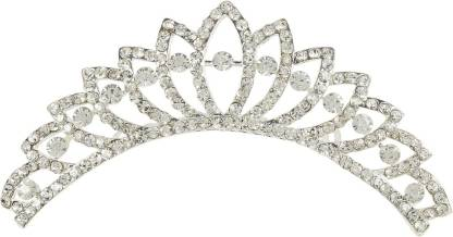 Muchmore Amazing Silver Tone Crown With Crystal Stone Hair Jewellery Hair Clip