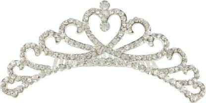 Muchmore Marvellous Silver Tone Crown With Crystal Stone Hair Jewellery Hair Clip