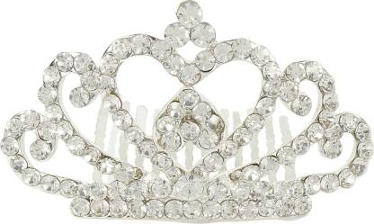 Muchmore Designer Silver Tone Crown With Crystal Stone Hair Jewellery Hair Clip