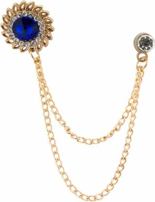 KNIGHTHOOD Royal Blue Stone With Inspired Swarovski Detailing Hanging Chain Brooch