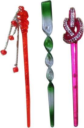 Vogue Combo of Multi Color Juda Sticks Bun Stick