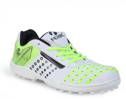 Feroc White Floro Green Turbo Cricket Shoes For Men