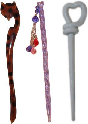 Ritzkart BOB Maker Combo of Multi Color Juda Sticks Bun Stick
