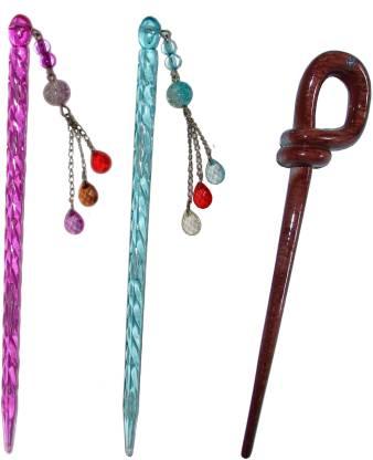 The Ethnic Wears Combo of Multi Color Juda Sticks Bun Stick
