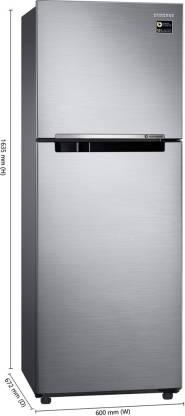 Samsung 321 L Frost Free Double Door 3 Star  2019  Refrigerator Elegant Inox, RT34M3053S8/HL