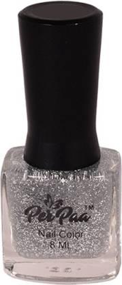 Perpaa Top Coat Nail Enamel Silver Sparkle glitz