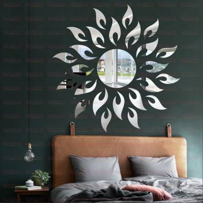 Look Decor Extra Large Sun Flame Silver, Decorative Wall Mirror Stickers