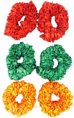 One Personal Care Princess Colorful Designer Fabric Scrunchies Casual Wear SQ-541-02 Rubber Band
