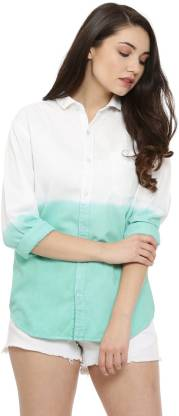 Campus Sutra Women Color Block Casual White Shirt