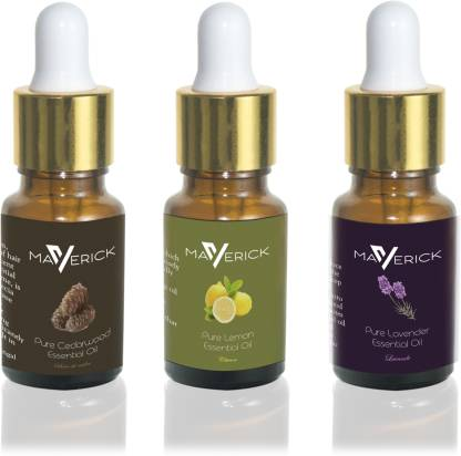 Maverick Pure Lavender, Cedar wood & Lemon essential oil 3 in 1 pack with dropper