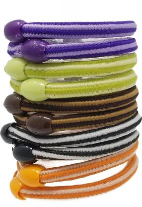 Rbasics multicolor Soft Fabric rubberbands For Women ( Pack of 10) Rubber Band