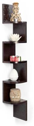 HOUZIE HOUZIE-WM-zig zag corner-wenge Wooden Wall Shelf  (Number of Shelves - 5)