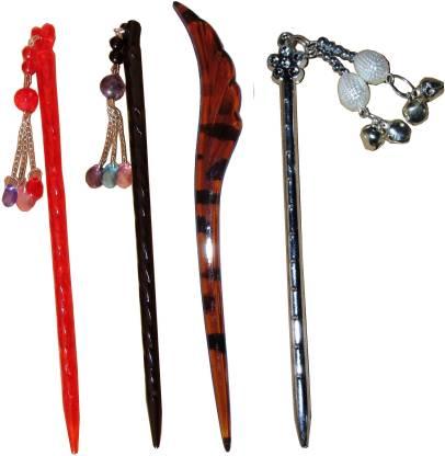Pilo Combo of Multi Color Juda Sticks Bun Stick
