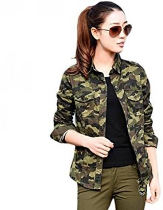 C.Cozami Women Military Camouflage Casual Green Shirt