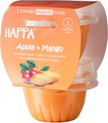 Happa Organic Apple + Mango Puree, Baby food for 6 months+, Stage-2 Cereal