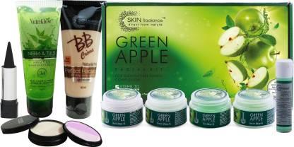 NutriGlow Green Apple Facial Kit (250+10)g with Makeup Kit
