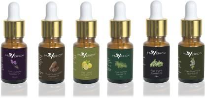 Maverick Pure Lavender, Rosemary, Cedarwood, Thyme, Lemon & Tea Tree essential oil 6 in 1 pack with dropper