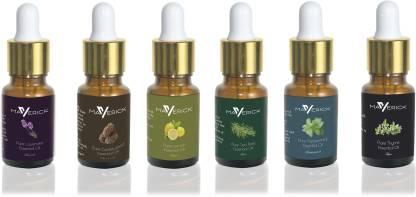 Maverick Pure Lavender, Cedarwood, Thyme, Peppermint, Lemon & Tea Tree essential oil 6 in 1 pack with dropper