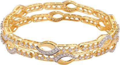 Ruxmani Jewels Natural Diamond Rhodium Plated Bangle For Women Yellow Gold 18kt Diamond Bangle