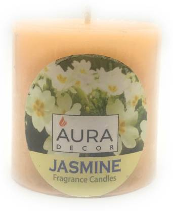 AuraDecor Jasmine Fragrance Pillar Candle