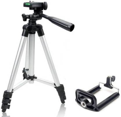 dirAr Tripod - 3110 Portable & Foldable Camera - Mobile Tripod With Mobile Clip Holder Bracket , Fully Flexible Mount Cum Tripod , Standwith Three-dimensional Head & Quick Release Plate Only 150 gm + Black Carry Bag for Canon Nikon Sony Cameras Camcorders iPhone & Androids Tripod Kit (Silver, Supports Up to 1500) Tripod