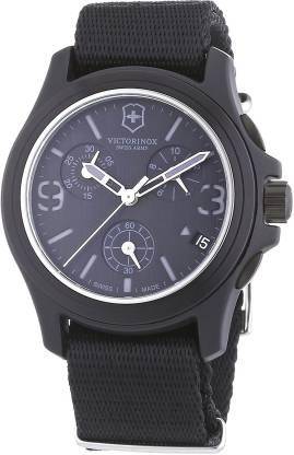 Victorinox Black8307 Victorinox Swiss Army Men's 241534 Original Chronograph Black Nylon Strap Watch Analog Watch - For Men