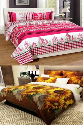 Home Pictures 120 TC Microfiber Double Printed Bedsheet