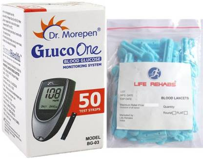 Dr. Morepen Gluco one BG03 50 strips with life rehabs 50 lancets Health Care Appliance Combo