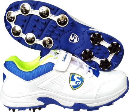 SG Seamer Cricket Shoes with Full Metal Spikes - 6 UK (White/Lime/Blue) Cricket Shoes For Men